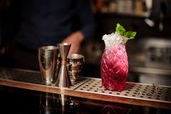 Милое стекло вкусного свежего и сладостного коктеиля лета mojito клубники Стоковые Изображения RF