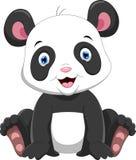 Милое усаживание маленькой панды шаржа иллюстрация вектора