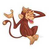 Милое усаживание обезьяны шаржа Иллюстрация вектора шимпанзе царапая его голову иллюстрация вектора