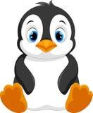 Милое усаживание шаржа пингвина младенца Стоковое Фото