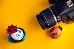 2 милое, элегантные яичка при стороны, представляя перед камерой Пасха время одевать вашу таблицу Стоковые Фотографии RF