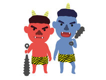 Милое японское ` oni ` демона, иллюстрация 3D, стоковое изображение