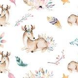 Милое raccon, олени и зайчик младенца семьи животный жираф питомника, и медведь изолировали иллюстрацию Raccon boho акварели иллюстрация штока