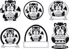Милое tanuki ест лапши рамэны, иллюстрацию дизайна логотипа бесплатная иллюстрация