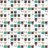 Милой иллюстрация картины kiddie нарисованная рукой безшовная с прелестными характерами животных носит, кот, пингвин, лиса, собак бесплатная иллюстрация