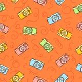 Милой и смешной винтажной нарисованное рукой vecto картины камер фото безшовное иллюстрация штока
