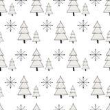 Милой картина зимы нарисованная рукой безшовная с элементами рождества Новый Год иллюстрации Стоковые Изображения RF