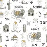Милой картина зимы нарисованная рукой безшовная с элементами рождества Новый Год иллюстрации Стоковое Фото