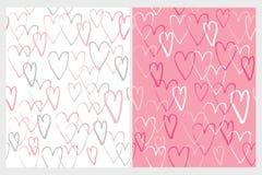Милой нарисованные рукой скачками картины вектора сердец иллюстрация вектора