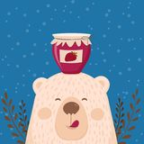 Милой ретро карточка нарисованная рукой как смешной медведь с вареньем опарника Для детей меню, зимние отдыхи, день рождения, рож иллюстрация штока
