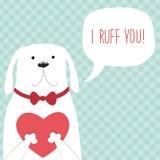 Милой ретро нарисованная рукой карточка дня ` s валентинки как смешная собака с сердцем и речь клокочут Стоковая Фотография