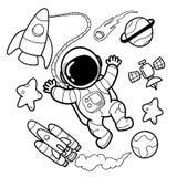 Милые астронавты вручают чертежи иллюстрация вектора