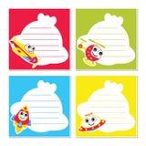 Милые воздушные перевозки на красочной иллюстрации шаржа вектора рамки для дизайна бумаги памятки ребенк Стоковые Фотографии RF