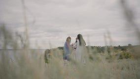 Милые девушки нося длинное платье моды лета на поле на фоне озера или реки 2 акции видеоматериалы