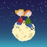 Милые дети на луне Стоковое Изображение