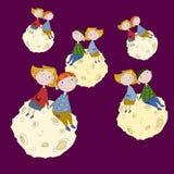 Милые дети на луне Стоковые Изображения