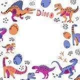 Милые динозавры вручают вычерченную иллюстрацию вектора цвета с круглым открытым космосом для вашего текста Рамка круга мультфиль иллюстрация штока