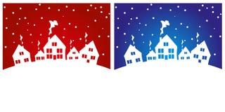 Милые дома в снеге Стоковая Фотография RF