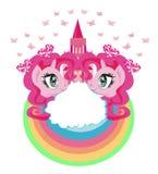 Милые единороги и замок принцессы сказки Стоковое фото RF