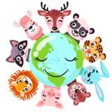 Милые животные вокруг иллюстрации вектора знамени глобуса Концепция планеты животных, фауна континентов мира, карта мира с дикими стоковое изображение