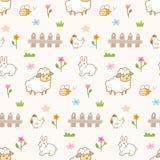Милые животные в предпосылке фермы безшовной иллюстрация вектора
