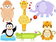 Милые животные иконы/бирка/ярлык Стоковое Изображение