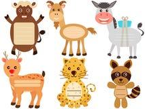 Милые животные иконы/бирка/ярлык Стоковая Фотография
