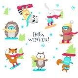 Милые животные наслаждаясь иллюстрацией сноубординга изолированной вектором иллюстрация вектора