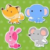 Милые животные стикеры 04 Стоковое Изображение