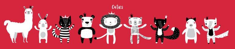 Милые животные с кронами бесплатная иллюстрация