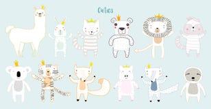 Милые животные с кронами иллюстрация вектора