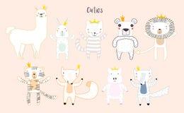 Милые животные с кронами иллюстрация штока