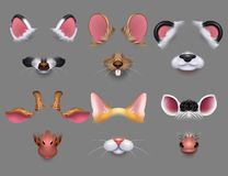 Милые животные уши и фильтры влияния носа видео- Смешные маски животных для комплекта вектора мобильного телефона бесплатная иллюстрация