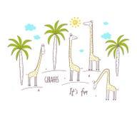 Милые жирафы и пальмы Иллюстрация вектора для детей бесплатная иллюстрация