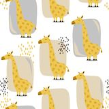 Милые жирафы, красочная безшовная картина Декоративная предпосылка с животными иллюстрация вектора