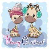 Милые жирафы мальчик и девушка иллюстрации зимы иллюстрация штока