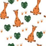 Милые жирафы, monstera выходят безшовный иллюстрация штока