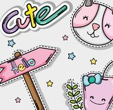 Милые и симпатичные шаржи иллюстрация штока