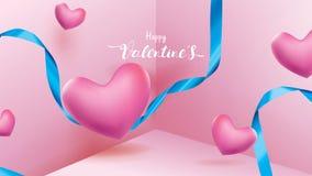 Милые и сладкие элементы в форме сердца, ленты, коробки летания подарка на розовой предпосылке Символы вектора любов для счастлив бесплатная иллюстрация