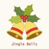Милые колоколы рождества с ягодой падуба как ретро applique ткани в затрапезном шикарном стиле Стоковые Изображения