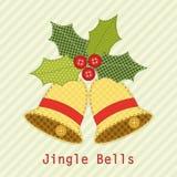 Милые колоколы рождества с ягодой падуба как ретро applique ткани в затрапезном шикарном стиле Стоковые Фотографии RF