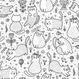 Милые коты в картине лета безшовной стоковое фото rf