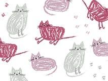 Милые коты мультфильма нарисованные вручную для предпосылок и значков бесплатная иллюстрация