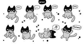 Милые коты шаржа с различными эмоциями Стоковые Изображения RF