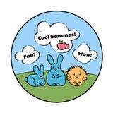 Милые кролики и еж на лужайке с литерностью следовать вашими мечтами иллюстрация вектора