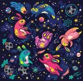 Милые кролики летая в картину космоса безшовную r иллюстрация вектора