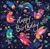 Милые кролики летая в космос Открытка с днем рождений в шуточном стиле иллюстрация штока