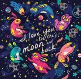 Милые кролики летая в космос Плакат с литерностью я тебя люблю к луне и задней части бесплатная иллюстрация