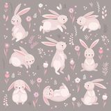 Милые кролики спать, runnung, сидя Прекрасный бесплатная иллюстрация