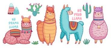 Милые ламы со смешными цитатами стоковые изображения rf